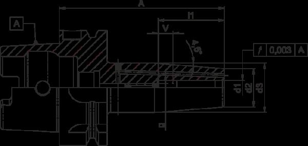 Schrumpffutter Standard HSK-A40 mit Kühlkanalbohrung